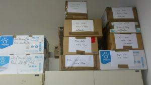 Die Kisten mit den fertigen Aufbauten